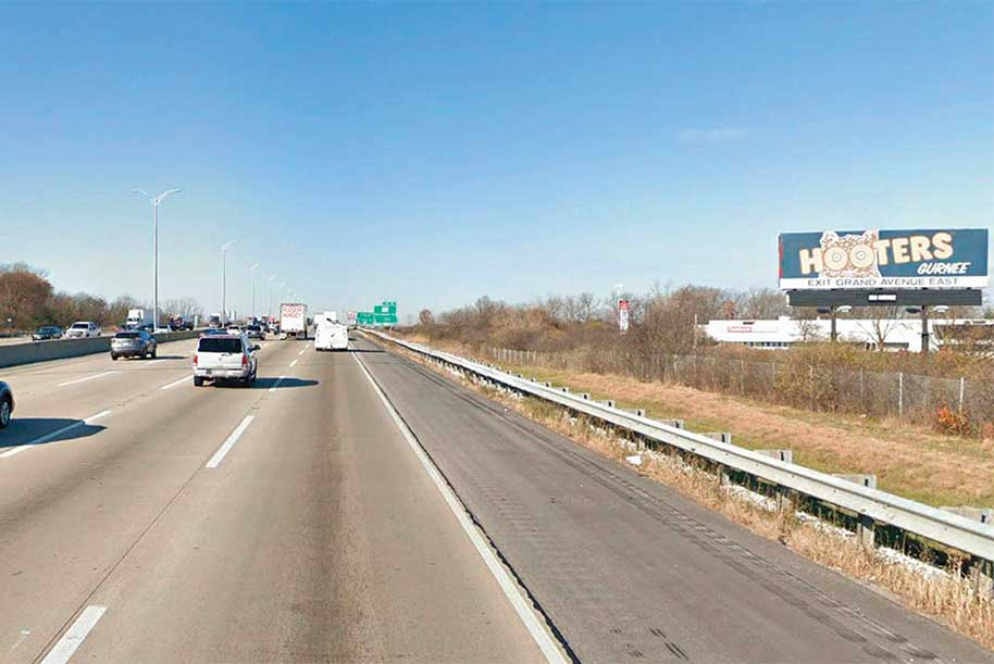 Billboard on East side of I-294 1/4 mile south of Route 176 facing south.